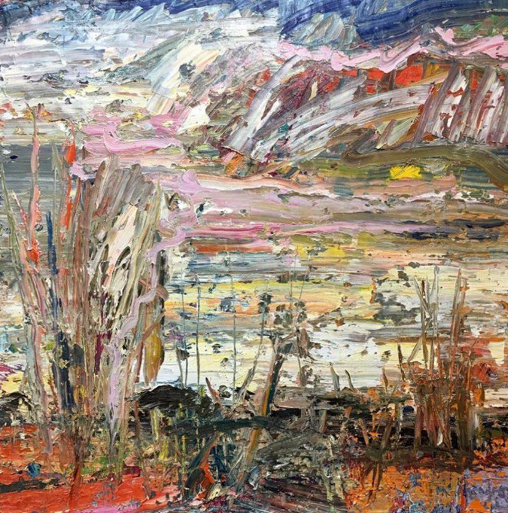 "March Orange, oil on canvas, 48x48"" 2017-1019. $9,600"