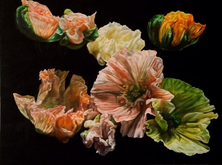 "Poppy Garden, oil on canvas, 36x48"", 2021, $6,700."