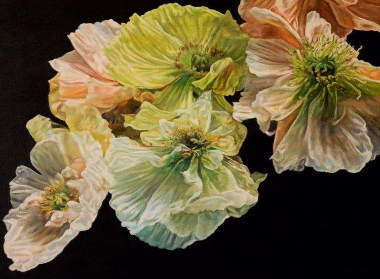 Poppy Cascade, oil on canvas, 36x48, 2021, $6,700